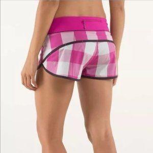 Lululemon Raspberry Plaid Run Speed Shorts